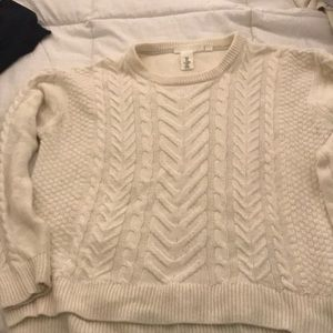 H&M White Cable Knit Sweater size m